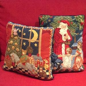 Pair of Christmas Themed Needlepoint Pillows